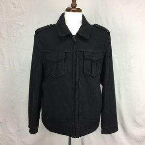 Guess Black Full Zip Pea Coat